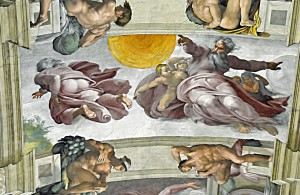 Michelangelo's Sun and Moon in Sistine Chapel (Photo by Don Knebel)