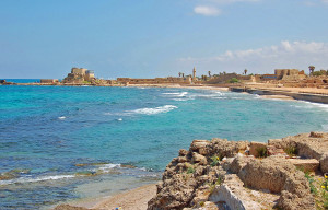 Remains of Inner Harbor at Caesarea Maritima (Photo by Don Knebel)