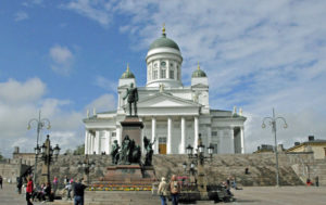 Helsinki Cathedral and Statue of Czar Alexander II (Photo by Don Knebel)